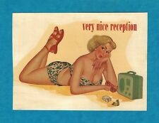 "VINTAGE ORIGINAL 1948 SEXY BLONDE ""VERY NICE RECEPTION"" PINUP WATER DECAL ART"
