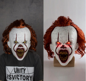 Adult Pennywise IT Clown Mask Halloween Horror Deluxe Latex Mask w/LED Joker