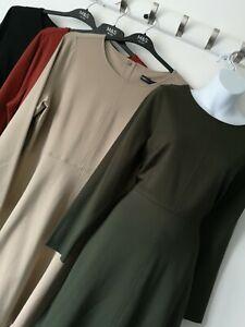 M&S SIZES 14 16 18 20 22 24 GREEN BLACK ORANGE CAMEL FIT & FLARE STRETCH DRESS