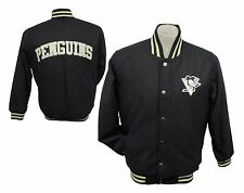 Pittsburgh Penguins Snap Up Wool Winter Jacket, Men's M L XL 2XL NHL Black