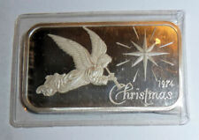 1974 Collectible SILVER BAR .999 One Ounce ANGEL CHRISTMAS Madison MINT