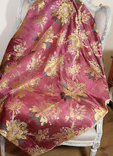 18th Century French Lyon Silk Cover Flowers Corn Fruiting Trees