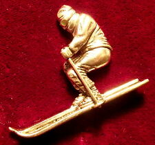 Pewter Downhill Skier Ski Brooch Pin  Quality