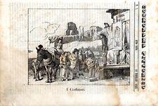 Stampa antica CIARLATANI spettacolo ambulante musica 1843 Old print