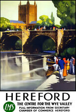 Hereford The Centre for the Wye Valley LMS  Train Rail Travel  Poster Print