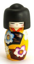 "Japanese Creative KOKESHI Wooden Doll Girl 5-7/8""H Yellow Floral, Made in Japan"