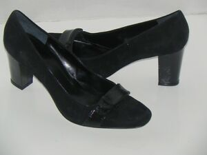 Enzo Angiolini Totiana Black Suede/Patent Leather Pumps Shoes size 10