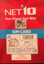 SIM CARD - SIZE DUAL - FITS 4S - GETS UNLIMITED AT&T NETWORK BY NET10