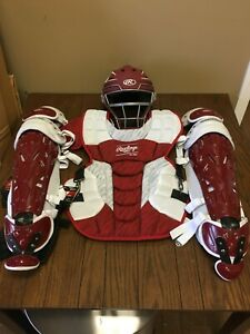 Rawlings Velo Baseball Catchers Gear Complete Set Cardinal
