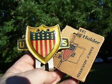 Vintage 40s nos US auto Flag holder license plate topper gm ford chevy rat rod