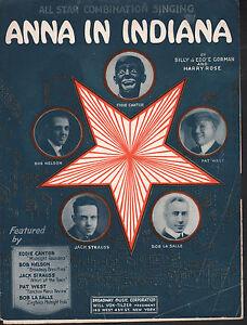 Anna In Indiana 1921 Eddie Cantor Sheet Music