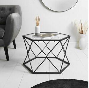 hexagon metal coffee table/modern Living Room Furniture Clear Glass Top Metal A