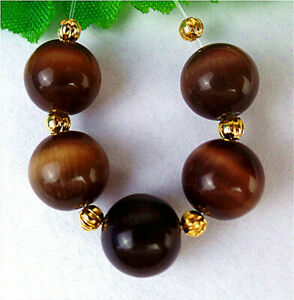 5Pcs 10mm Brown Cat Eye Gemstone Height Hole Ball Bead AP60745