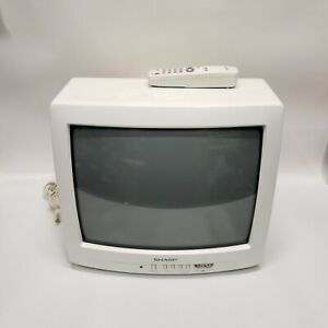 """White Sharp Retro 13N-M150B 13"""" CRT TV Gaming Television with Remote"""