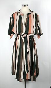 SHEIN Curve Plus Size 4XL Shift Dress Green Stripe Short Sleeve V Neck Tie Belt
