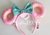 Disney Parks Foodie Snack Teal Bow Pink Sprinkles Donut Minnie Ears Headband NWT