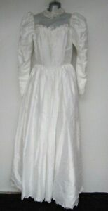 STEVIES GOWNS VTG Wedding Dress Sz 14 Made in UK Satin Puff Shoulder High Neck