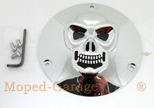 Harley Derby Cover Kupplungsdeckel Chrom 3-D Skull Big Twin 70 -98 Motor Deckel