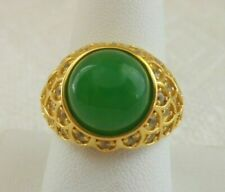 GENUINE GREEN JADE RING White ZIrcon Accents YG Vermeil over S/S Size 9