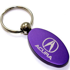 Purple Aluminum Metal Oval Acura Logo Key Chain Fob Chrome Ring