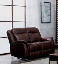 Brown Leather Gel 2 Seater Recliner Reclining Sofa Suite NEWBURY