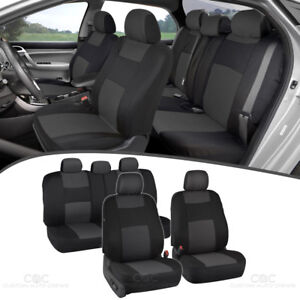 Car Seat Covers for Hyundai Sonata 2 Tone Charcoal & Black w/ Split Bench