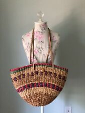 Vintage Woven Jute Fiber Straw Leather Market Shopper Bag Handbag Purse 17 Х 10