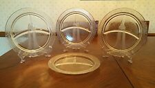 """MacBeth Evans Stippled Rose Band clear glass 10-3/8""""grill/dinner plates - set/ 4"""