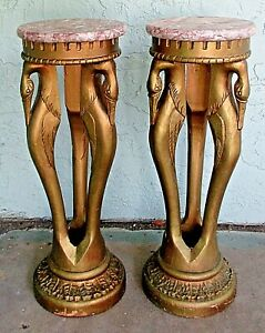 Matched Pair Art Deco Carved Wood Three Swan Design Base Marble Top Plant Stands
