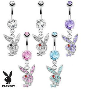 Surgical Steel Dangle Playboy Bunny Belly Bar With Multi Paved Gems