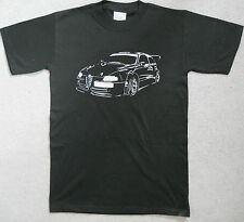 Alfa Romeo 147 147 Silver GTA Print Black 100% Cotton Tee Shirt BNOS Small Only