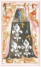 1940s Vintage Salvador Dali Gothic Surrealist Fleur De Lis Nude Corpse Art Print