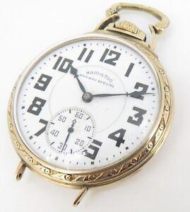 .1942 Hamilton 992B 16s 21 Jewel Gold Filled Open Faced Pocket / Wrist Watch