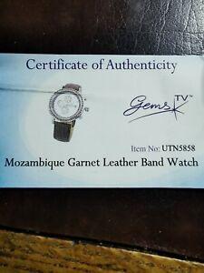 Gems TV ladies Mozambique Garnet Chronograph Watch Original box and Certificate