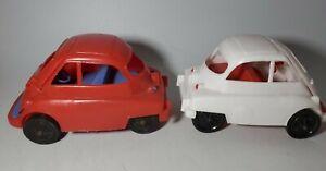 LOT OF 2 Vintage ORIGINAL Isetta BMW Plastic Car Toys