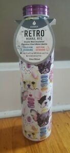 Manna Retro Water Bottle 20oz Double Insulated Frenchie Bulldogs Dog Donuts New