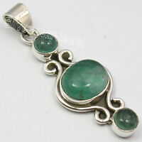 """925 Solid Silver Green Apatite 6.8 Ct Pendant 1.7"""" Wholesale Handcrafted Jewelry"""