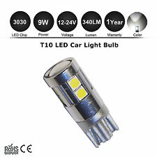 1X T10 W5W 6000K Xenon WHITE 3030-SMD 9 LED Parking LIGHT DC 12-24V 9W Bulb Lamp