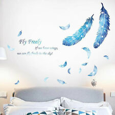 Blue Feathers Wall Sticker Quotes Art Decal Living Room TV Background Bedroom
