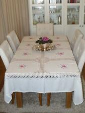 Large 2.30 mètres/7.6 FT (environ 2.32 m) Vintage Broderie & Open-travail fait à la main table cloth