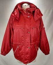 Nordica Womens Vintage Insulated Hooded Ski Jacket Coat Size 42 Shiny Red Tuxer