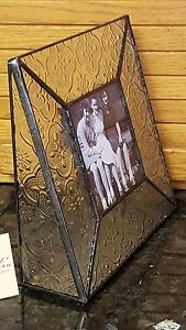 BEAUTIFUL Raised Pattern Glass & Metal Trim 3x3 Frame by J. Devlin NWT!