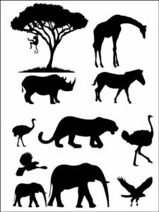 African Animal Silhouette jungle Background Edible Cake Topper Wafer or Icing