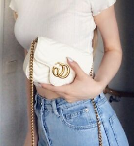 CG Mini Quilted Matelasse Logo Bag with Chain in White with Gold hardware