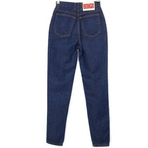 Vintage Bongo Womens Juniors Skinny Tapered Mom Jeans Size 5 High Rise Dark USA