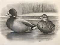 """Louis Frisino Signed And Numbered Limited Edition Duck Print 14X17"""" B&W Charc"""