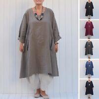 Ladies Lagenlook Quality Linen Tunic Top Dress 16 18 20 22 24 26 28 30/32  9405