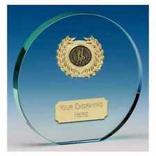 RUNNING TROPHY POPPY CIRCULAR THICK CUT GLASS AWARD FREE ENGRAVING KK225