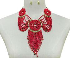 Red and Gold Beaded Fringe Necklace