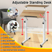 Adjustable Height Home Office Sit And Stand Mobile Laptop Pc Table Computer Desk